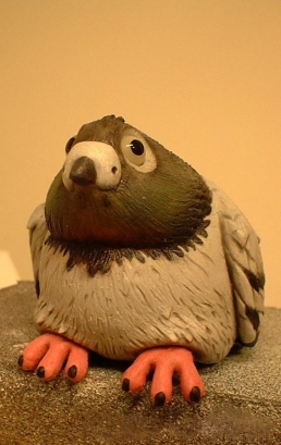 Silicone pigeon stop-motion puppet finished