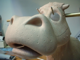 Cow puppet sculpture in progress
