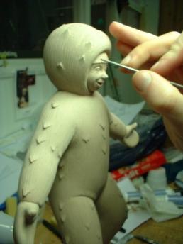 Eskimonika stop-motion puppet during sculpting