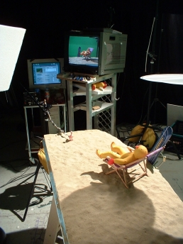 The stop-motion puppets on set