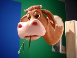 Silicone stop-motion cow puppet