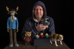 Me with the puppets of Hakkebakkeskogen