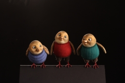 Bird stop-motion animation puppets ready for action