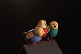 Bird stop-motion animation puppets