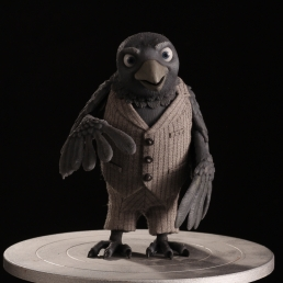 The finished crow silicone stop-motion puppet
