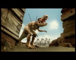 Stop-motion dinosaur puppet death scene