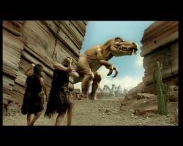 Two cavemen hunting dinosaur