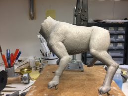 The body sculpture finished and ready for mold making, the head and tail needs separate molds