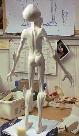 Alien puppet before the paint job