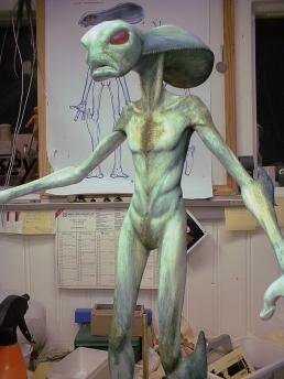 Alien puppet during paint
