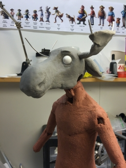 Very early in the progress of sculpting the moose