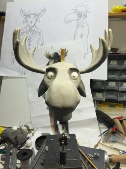 Work in progress on sculpting the moose head