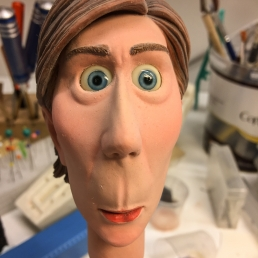 Stop-motion animation puppet head with silicone skin