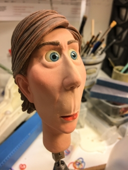 The finished stop-motion animation head with silicone skin