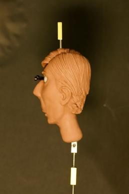 The Newscaster head sculpture ready for the mold