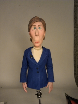 The Newscaster puppet was only made from the waist up