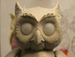 The Owl head during the sculpting