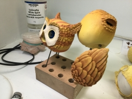 The Owl puppet during the paint job