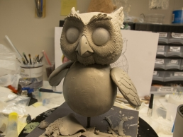 The Owl puppet during the sculpting