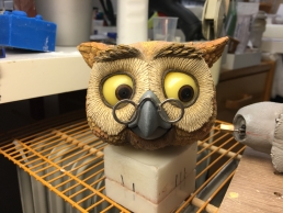 The finished Owl stop-motion puppet expression test