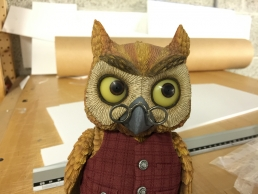 Owl stop-motion puppet