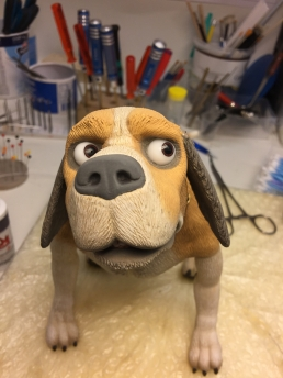 Testing some expressions on the finished stop-motion dog puppet