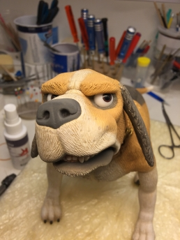 Testing some expressions on the finished dog stop-motion puppet
