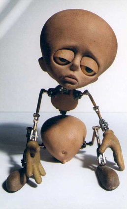 The main character stop-motion animation puppet from the short film Tungsinn