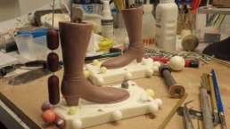 Working on the molds for the boots