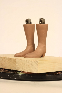 The boots ready for molding